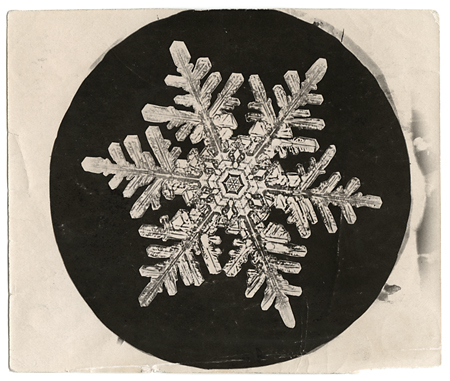 Snowflake crystal photomicrograph,   ca. 1903-1910. Vintage Gelatin Silver Print, printed ca. 1903-1910. Image measures 3 1/2 x 2 7/8 inches. Inventory #C1217.  SOLD   Terms  |  Inquire