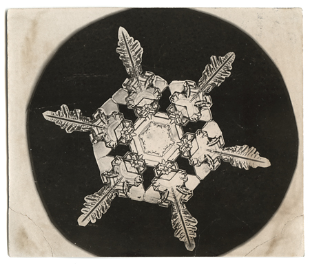 Snowflake crystal photomicrograph,   ca. 1903-1910. Vintage Gelatin Silver Print, printed ca. 1903-1910. Image measures 3 1/2 x 3 inches. Inventory #C1219.  SOLD   Terms  |  Inquire