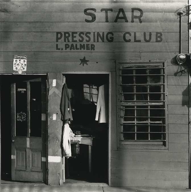 Star Pressing Club, Vicksburg, Mississippi ,    1936. Gelatin silver print, printed ca. 1970. Evans' credit stamp (Lunn II 130) on verso. Image measures 7 1/2 x 7 1/2 inches. Inventory #C1449.  Terms    |    Inquire