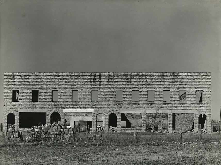 Abandoned building in the ghost town of Slick, Oklahoma ,   1940. Vintage Gelatin Silver Print, printed ca. 1940. FSA credit stamps on back. Image measures 7 1/8 x 9 9/16 inches. Inventory #C1405.  Terms    |    Inquire
