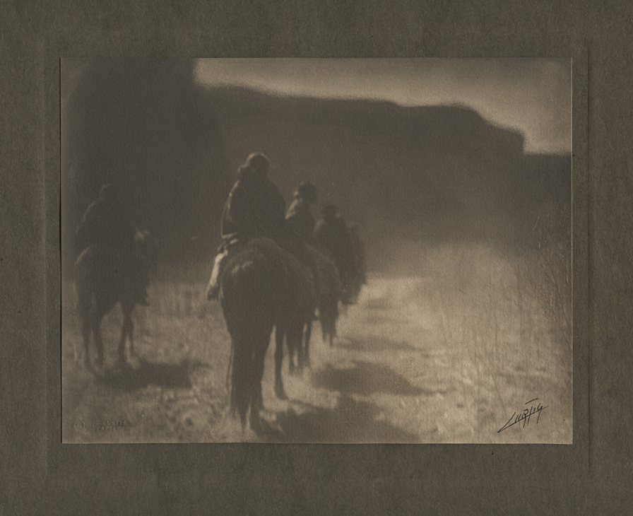 The Vanishing Race, 1904. Vintage platinum print. Mounted, signed in ink on image. E.S. Curtis Seattle copyright blindstamp in image, lower left. Image measures 6 x 8 inches. Inventory #AL001. Terms  |  Inquire