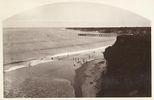 Carleton E. Watkins. Sea Bathing, Camp Capitola. Santa Cruz, Cal., 1883. Vintage albumen print.