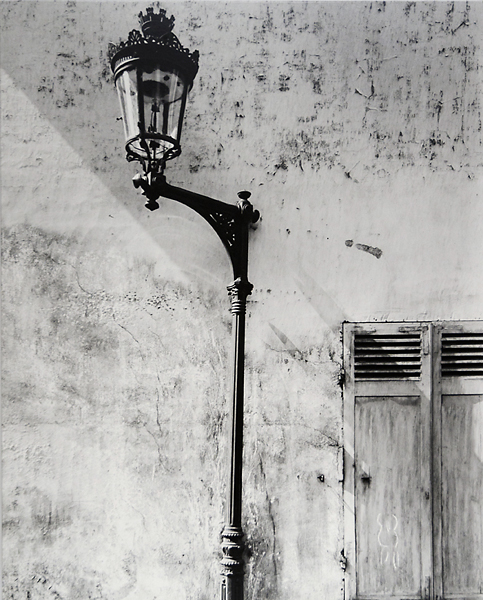 "Rue Hypolyte Mandrion, Paris. From ""Lamps of Paris"" series, 1951.  Vintage gelatin silver print, ca. 1957. Exhibition print, mounted to masonite. Titled, dated and signed in ink on paper backing with Webb's '9 St. Lukes Pl. NYC' credit stamp. Image measures 20 x 16 inches. Inventory #C1582. Terms  