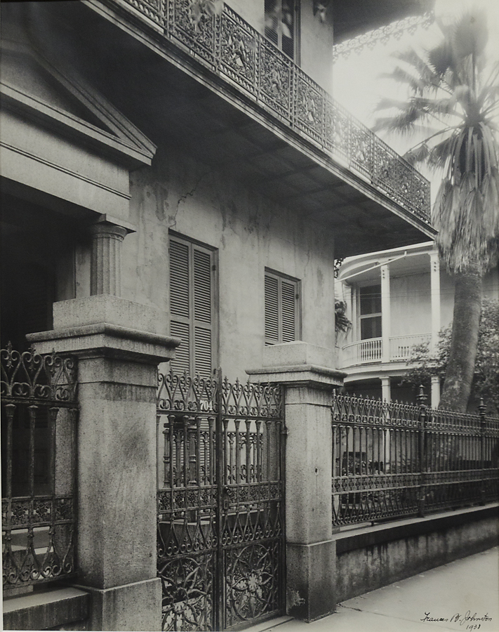 "John Gauche House, New Orleans, 1938. Vintage gelatin silver print.  Signed and dated in ink on print. Titled in pencil ""Old Residence New Orleans"" with credit stamp: ""Frances Benjamin Johnston 1132 Bourbon Street New Orleans Louisiana"" on verso. Image measures 19 1/4 x 15 1/4 inches. Inventory #C1624. Terms  