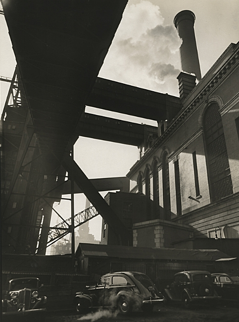 """Consolidated Edison Power House. 666 First Avenue, Manhattan, 1938. Vintage gelatin silver print. Abbott's Federal Art Project """"Changing New York"""" stamps on verso with title, date and project notations in pencil on verso. Image measures 9 3/8 x 6 13/16 inches. Inventory #C1573. Terms