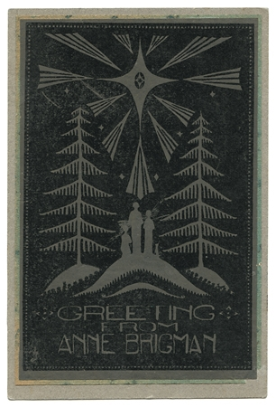 Christmas card,   ca. 1920s. Vintage linoleum cut print. Inscribed and signed in ink on verso. Image measures4 3/4 x 3 1/8 inches. Inventory #AL008.  Terms  |  Inquire