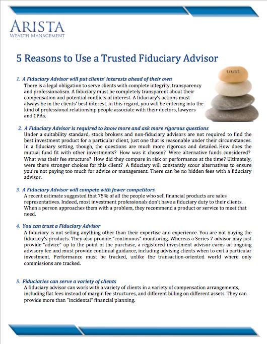5 Reasons to Use a Trusted Fiduciary Advisor