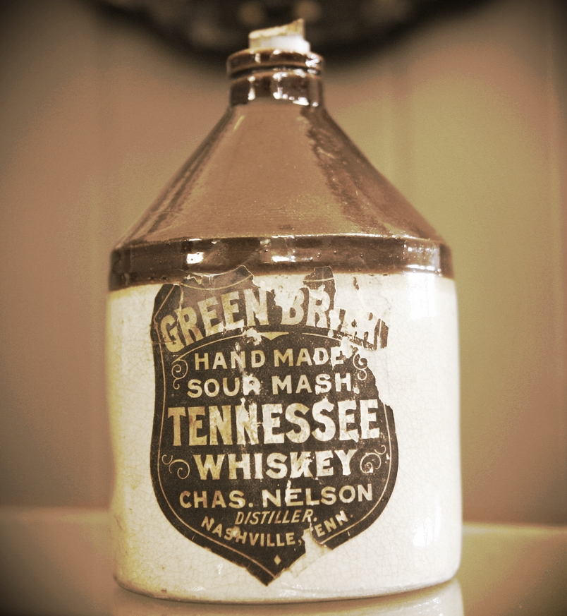 An original jug used to house Nelson's Green Brier Tennessee Whiskey.