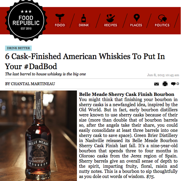 Belle Meade Bourbon Sherry Cask Finish Makes Food Republic's Top 6 American Cask-Finished Whiskies