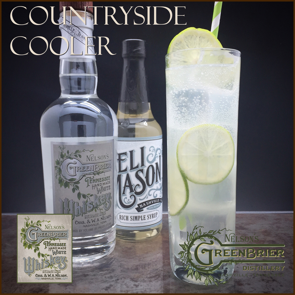 The Countryside Cooler: a southern, summer whiskey cocktail with Eli Mason syrup and Nelson's Green Brier Tennessee White Whiskey