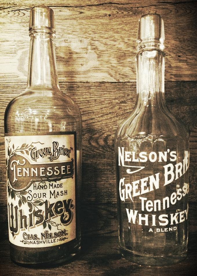 Original bottles of Nelson's Green Brier Tennessee Whiskey.