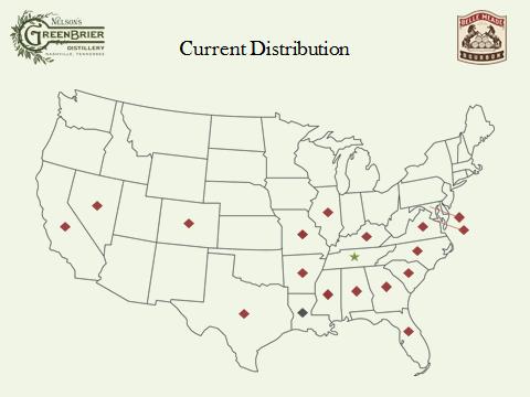 Belle Meade Bourbon U.S. distribution list