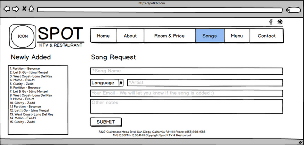 Wireframe for the song request feature.