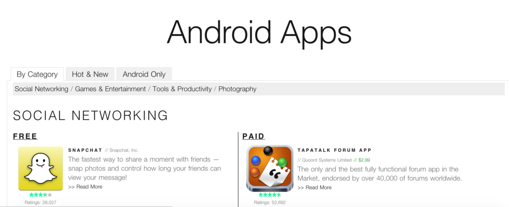 Android Apps Page
