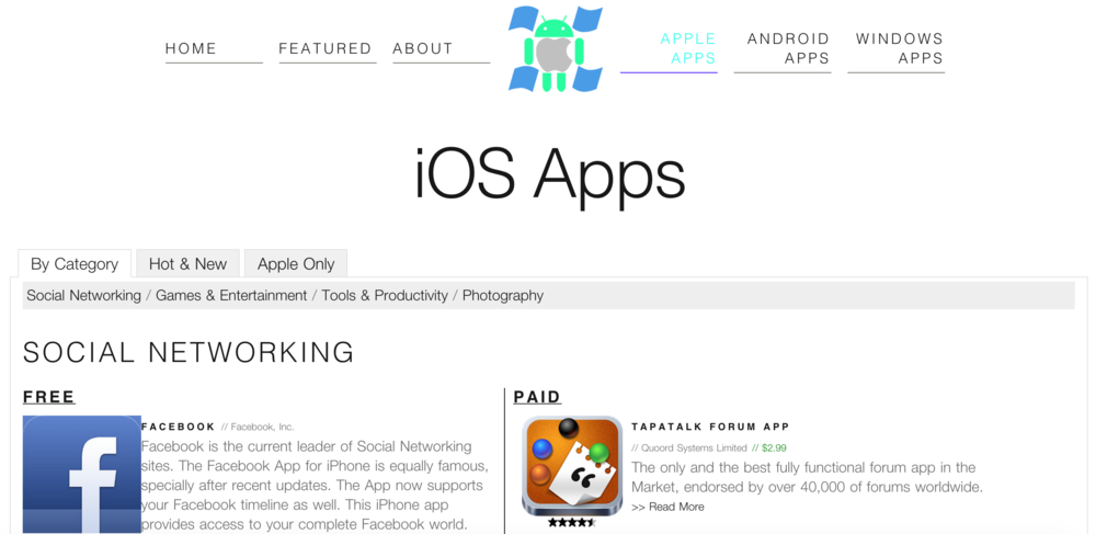 iOS Apps Page