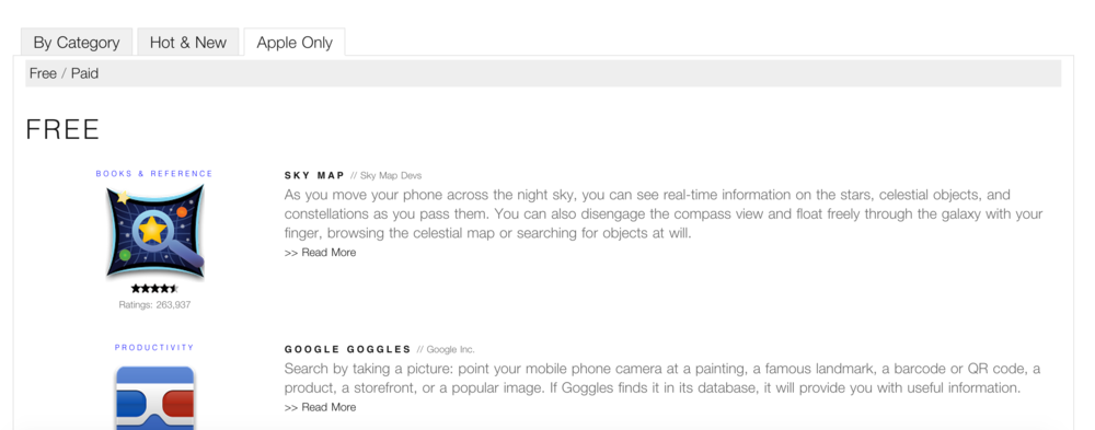 """Categorized apps into three categories: """"By Category"""", """"Hot&New"""", and """"Apple Only""""."""