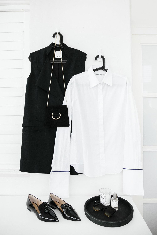 Acler Vest, Anna Quan Shirt, Mode Collective Loafers, Celine Sunglasses, Little Liffner Bag, Le Labo Santal 33 Perfume