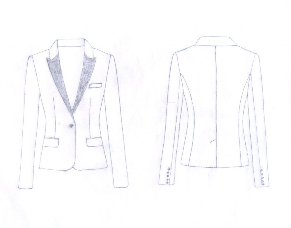 tuxedo blazer sketch