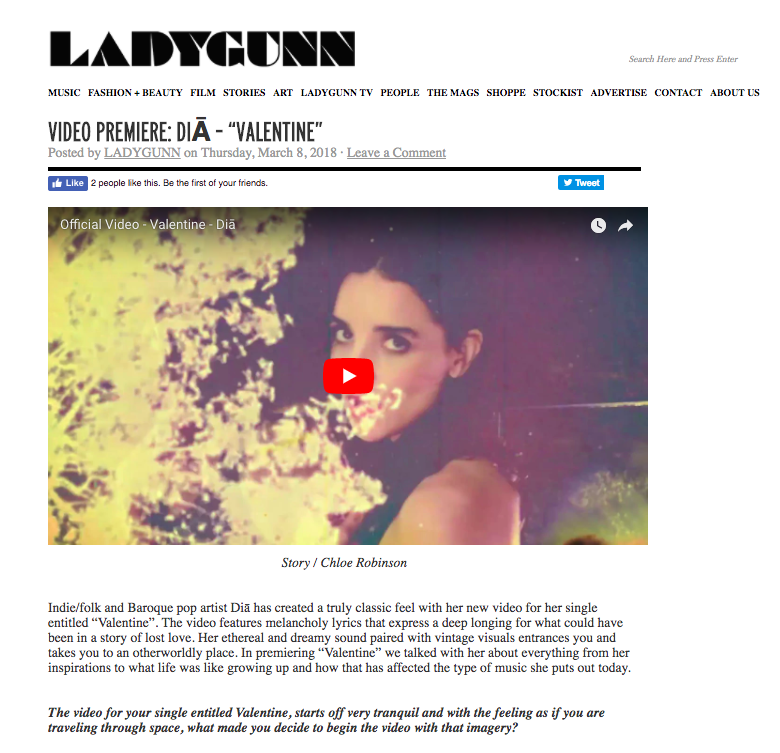 Lady Gunn Dia Valentine Video Premiere