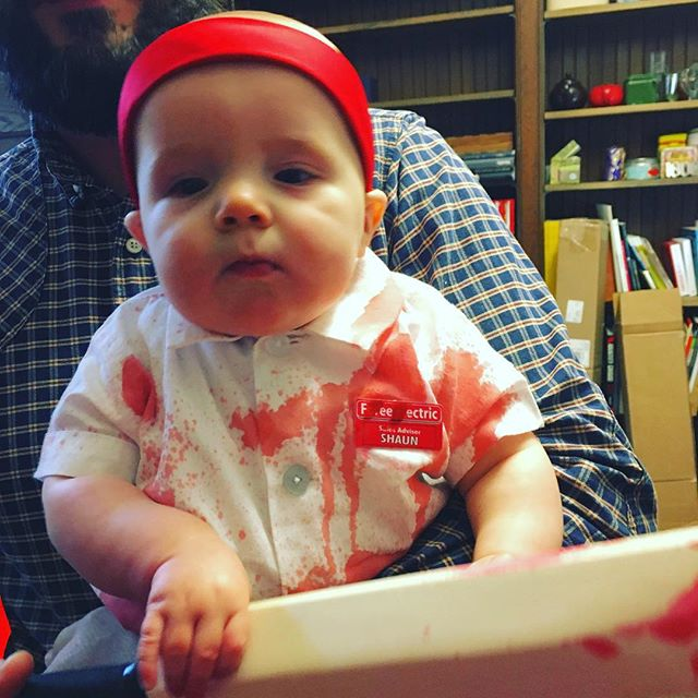 You've got red on you. #shaunofthedead #halloween #halloweenbaby #toocute  @simonpegg_ #romero