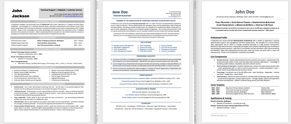 Best Resume Templates Nz Curriculum Vitae Templates