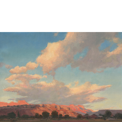 Sundown over Watchman, 14 x 18, Oil on Panel, Del Monte Fine Art