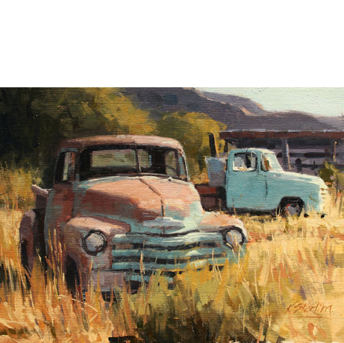 Two Trucks, 12 x 16, Oil on Linen Panel