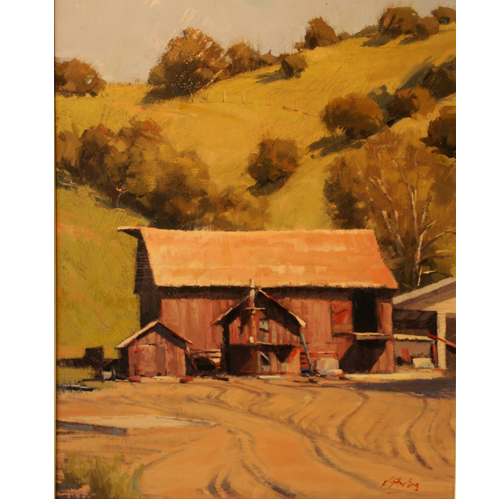 Red Barns, 20 x 16, Oil on Linen Panel, Del Monte Fine Art