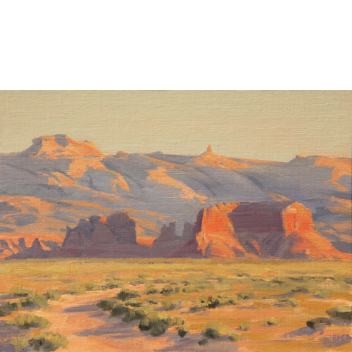 "Two Buttes, 9""x12"", Oil on Linen"