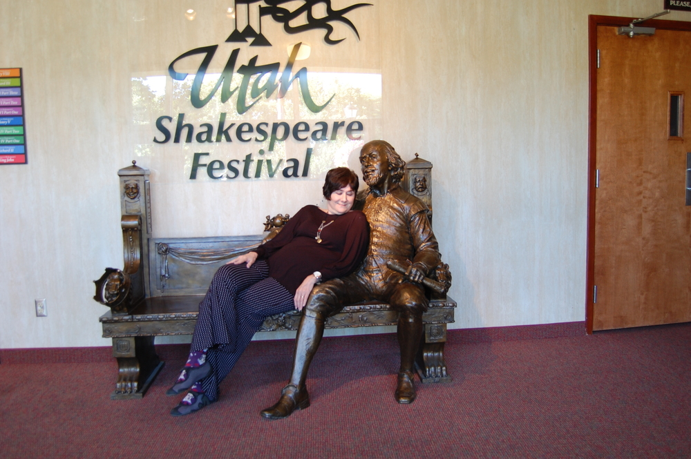 Will Shakespeare and Mary Jane Schaefer getting to know each other at The Utah Shakespeare Festival, August 2014. Photo taken by Annalisa F. Schaefer.