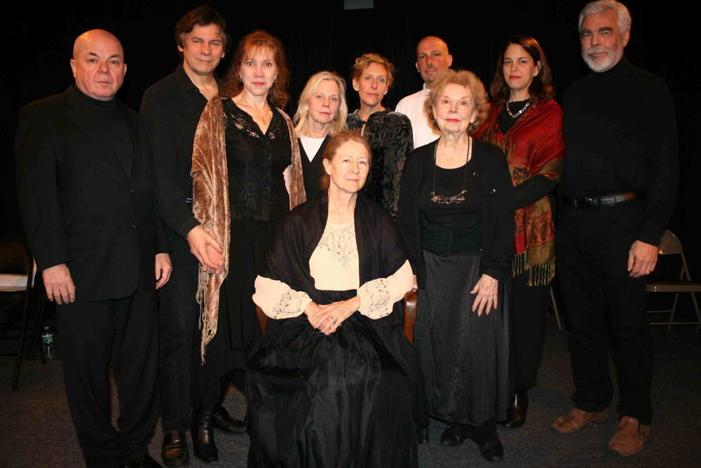 "The Cast of ""Judith Shakespeare Has Her Say"": Richard Leonard, Sean Hannon, Emilie Roberts, Carolyn Marble, Katie Sparer, Mark Frattaroli, Lucy Babbitt, and Sam Mink. Front: Mia Dillon and Betty Jinnette   Photo by Mark Graham."
