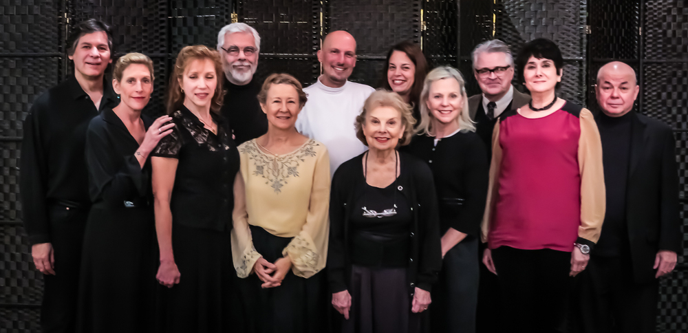 "The Cast, Director, and Author of ""Judith Shakespeare Has Her Say"":  Sean Hannon, Katie Sparer, Emilie Roberts, Sam Mink, Mia Dillon, Mark Frattaroli, Betty Jinnette, Lucy Babbitt, Carolyn Marble, Mark Graham (Director), Mary Jane Schaefer (Playwright) and Richard Leonard. Photo by Bruce Allan for The National Arts Club, Dec. 15, 2014."