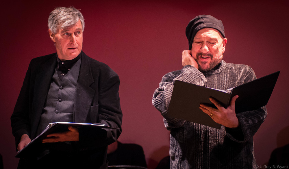Damien Langan as R. Burbage; Tom Zingarelli as Augustine Phillips.
