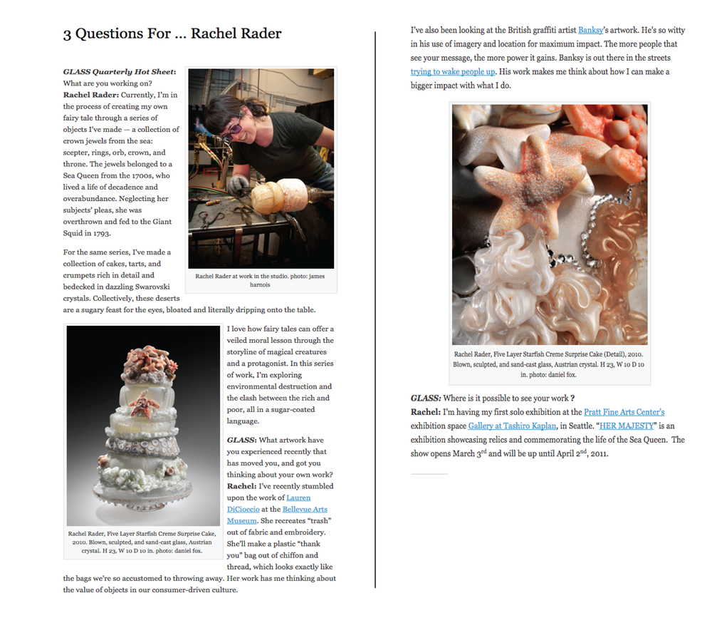 3 Questions for... Rachel Rader , by Andrew Page, Glass Quarterly Hot Sheet, March 2011