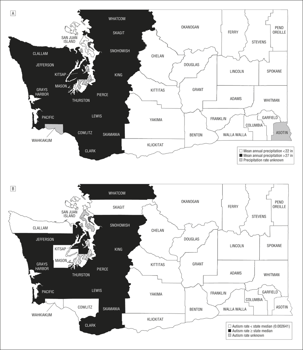 The above figure shows the prevalence in ASD in Washington was higher than the state average in counties that had recordered higher annual rainfall, suggesting an environmental factor contributing to ASD (A - rainfall map, B- autism rate map).  Source: Waldman et al, (2008),  Autism prevalence and precipitation rates in California, Oregon, and Washington counties ,   Arch Pediatr Adolesc Med.    2008 Nov;162(11):1026-34. doi: 10.1001/archpedi.162.11.1026.