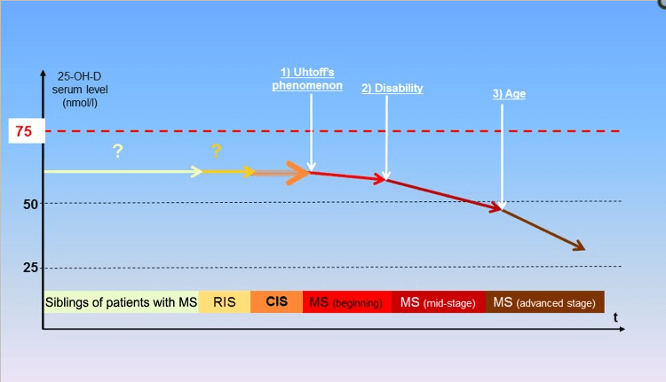 Schematic representation of the evolution of Vitamin D levels according to multiple sclerosis stage.  Source: https://www.ncbi.nlm.nih.gov/pmc/articles/PMC3582312/