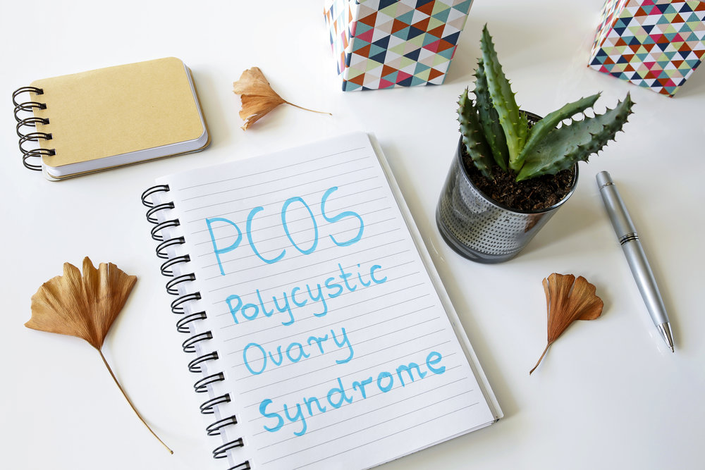 PCOS Polycystic ovary syndrome written in a notebook on white table