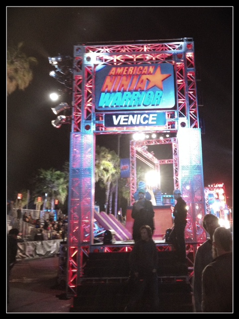 Getting ready to run the American Ninja Warrior Course in Venice Beach, CA.