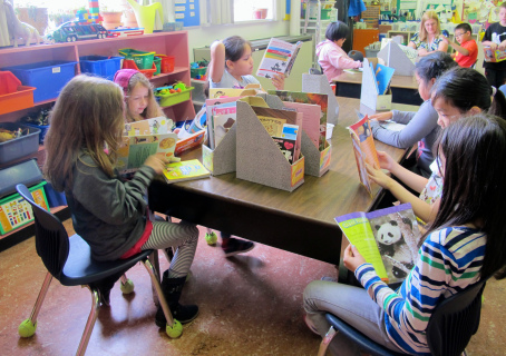 Carrie Gelson's students engaged in reading nonfiction in her classroom.