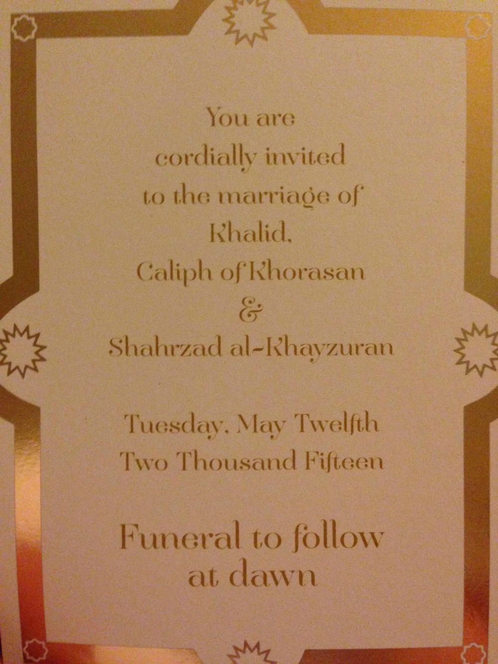 A wedding Invitation sent by the publisher made the book even more intriguing.