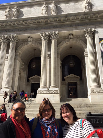 Hanging in front of the NYPL with colleagues.