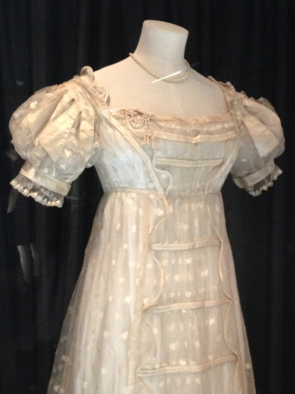 Close-up of the Regency wedding dress.