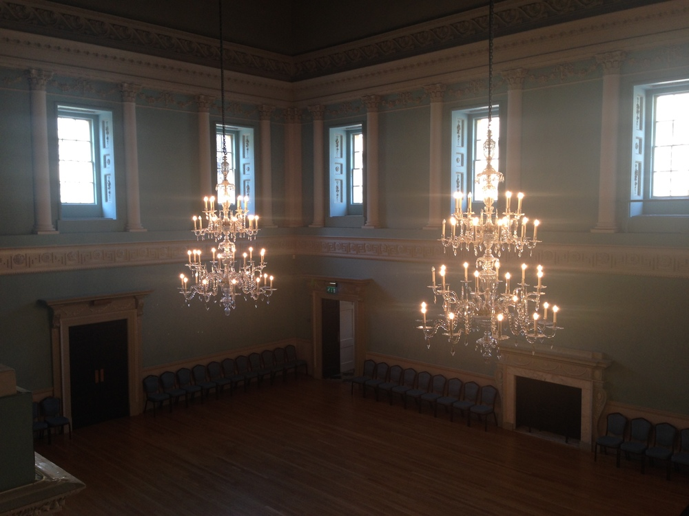 One of the Assembly Rooms, complete with two of the chandeliers.