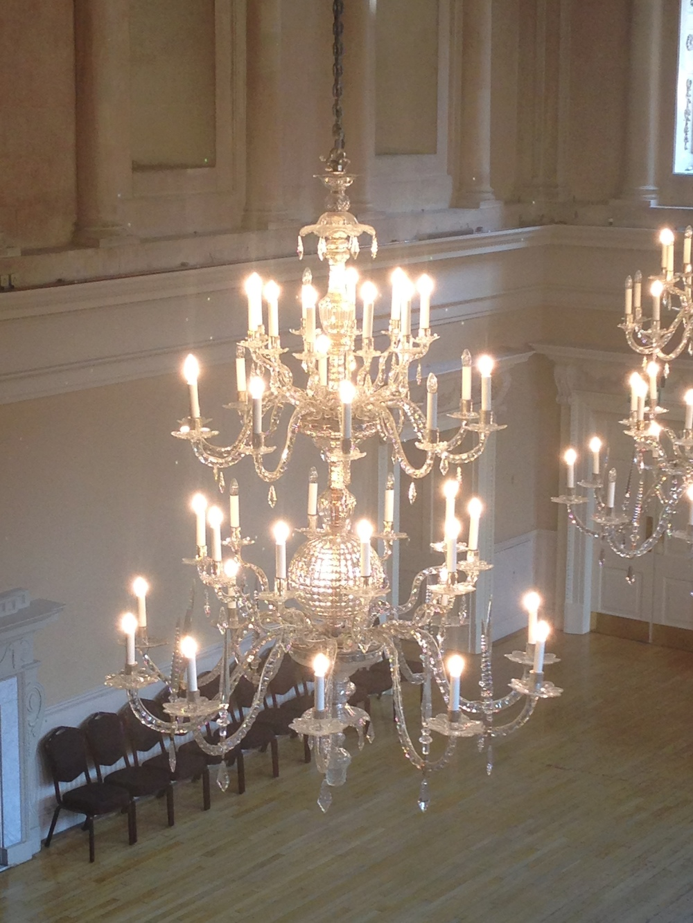 A close-up of another chandelier.
