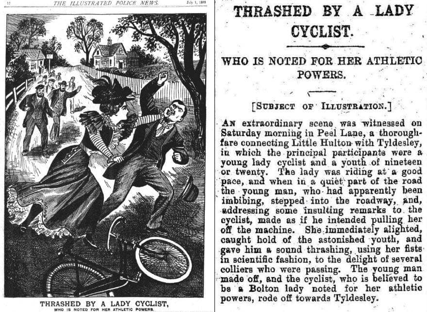 "[image: ""Thrashed by a Lady Cyclist"" The Illustrated Police News, July 1899]"