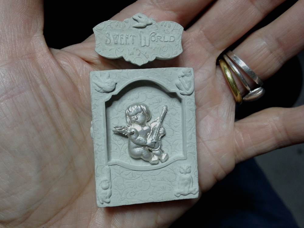 This will be one of two memento mori pendants for Brumfield Gallery's Narrative Jewelry Show in July