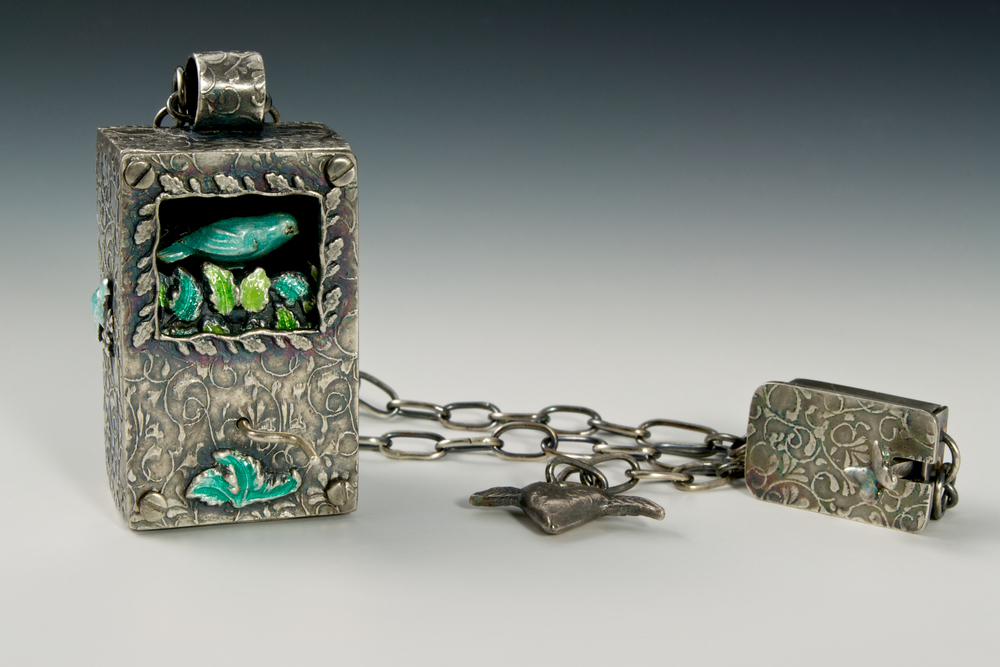 Singing bird; silver, bronze, vitreous enamel; fabricated, metal clay, wet packed, handmade chain and box clasp
