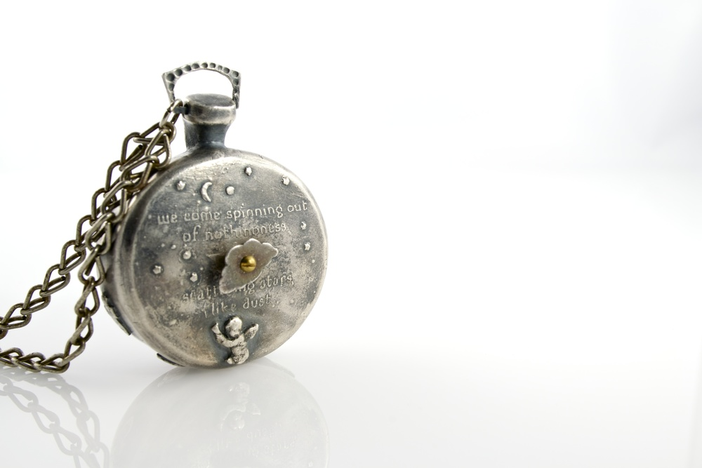 Mechanical timepiece pendant; silver, 18k, 24k, brass, olivine, found object; 2012-13