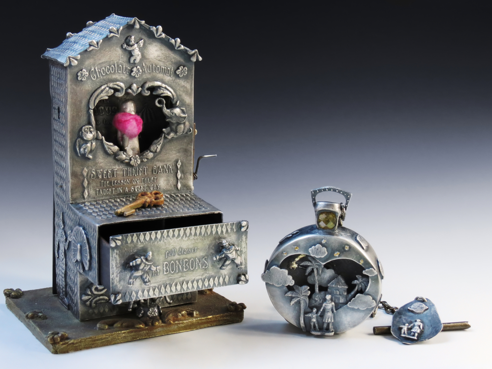 """Reliquary of childhood memories"" automaton container and mechanical timepiece pendant"