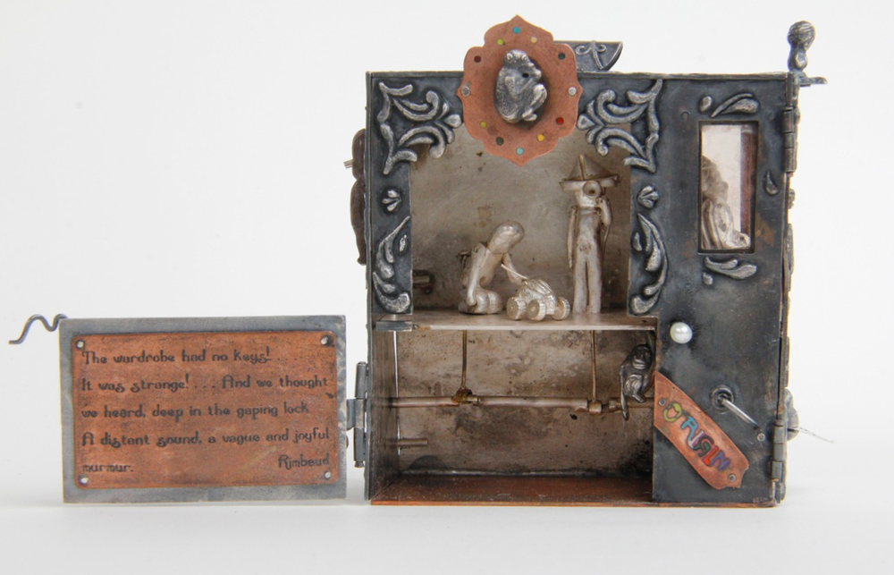 Lost point of origin silver, copper, bronze, vitreous enamel, found object, paper, mica, pearl, thread 7.6 x 7.8 x 3.2 cm 2012